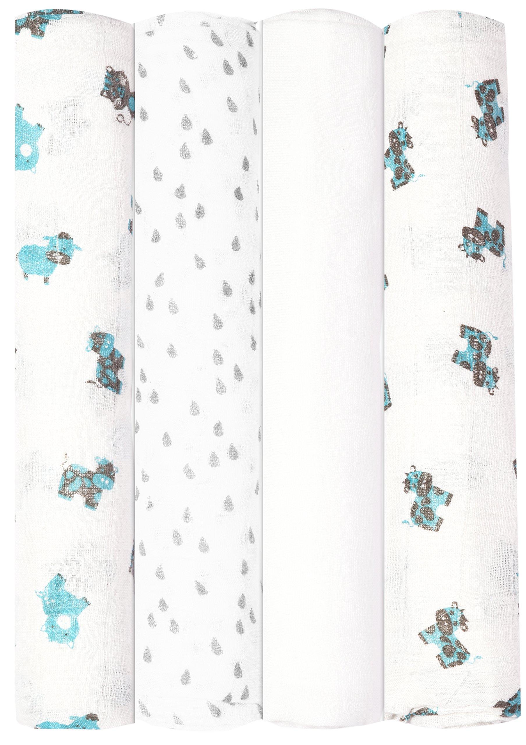 Babykin Organic Cotton Muslin Swaddle Blankets, Blue Farm Animals, 4 Piece Pack