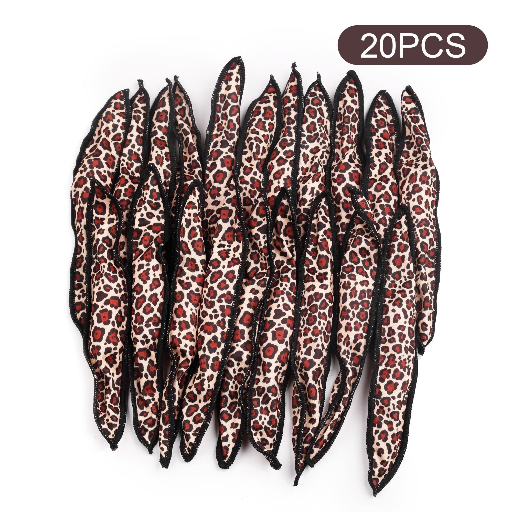 Black egg hair curlers 20pcs night sleep foam hair rollers leopard print DIY hair tools no heat and safe for women&kids