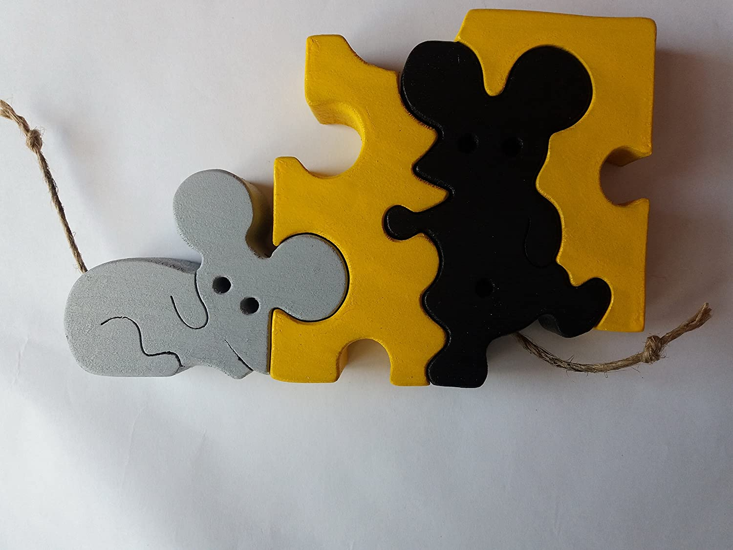 Wooden puzzle mice mouse in cheese handmade animal toy gift for children massive beech wood toy