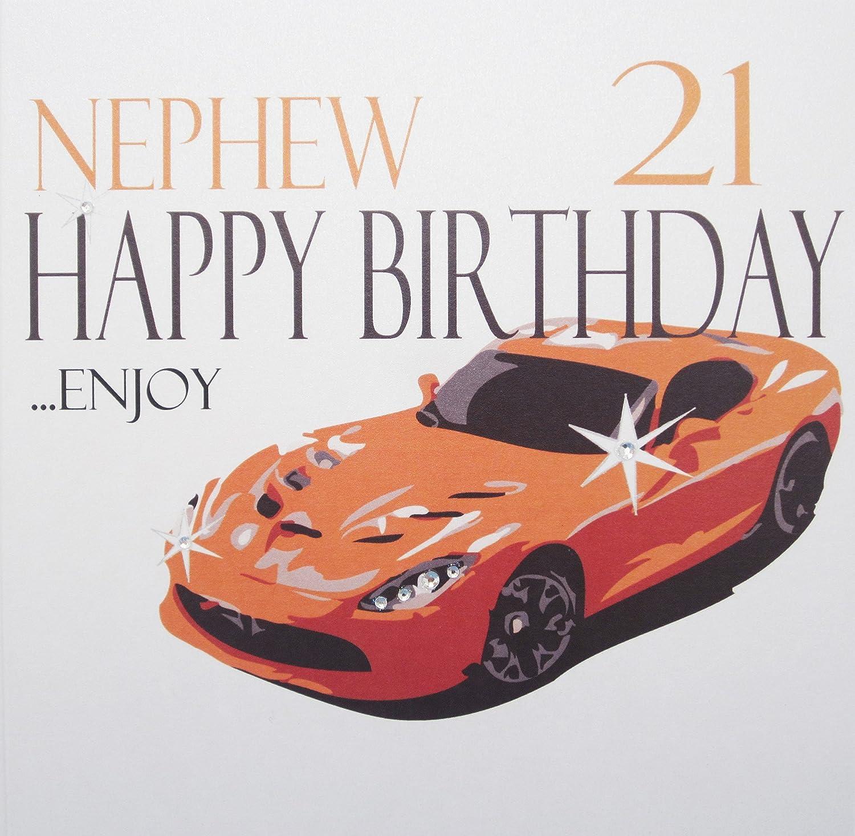 WHITE COTTON CARDS Nephew 21 Happy Enjoy Handmade 21st Birthday Card Orange Sports Car