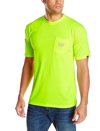c92a635ea6c Amazon.com  Caterpillar Men s Hi-Vis Trademark Pocket T-Shirt  Clothing