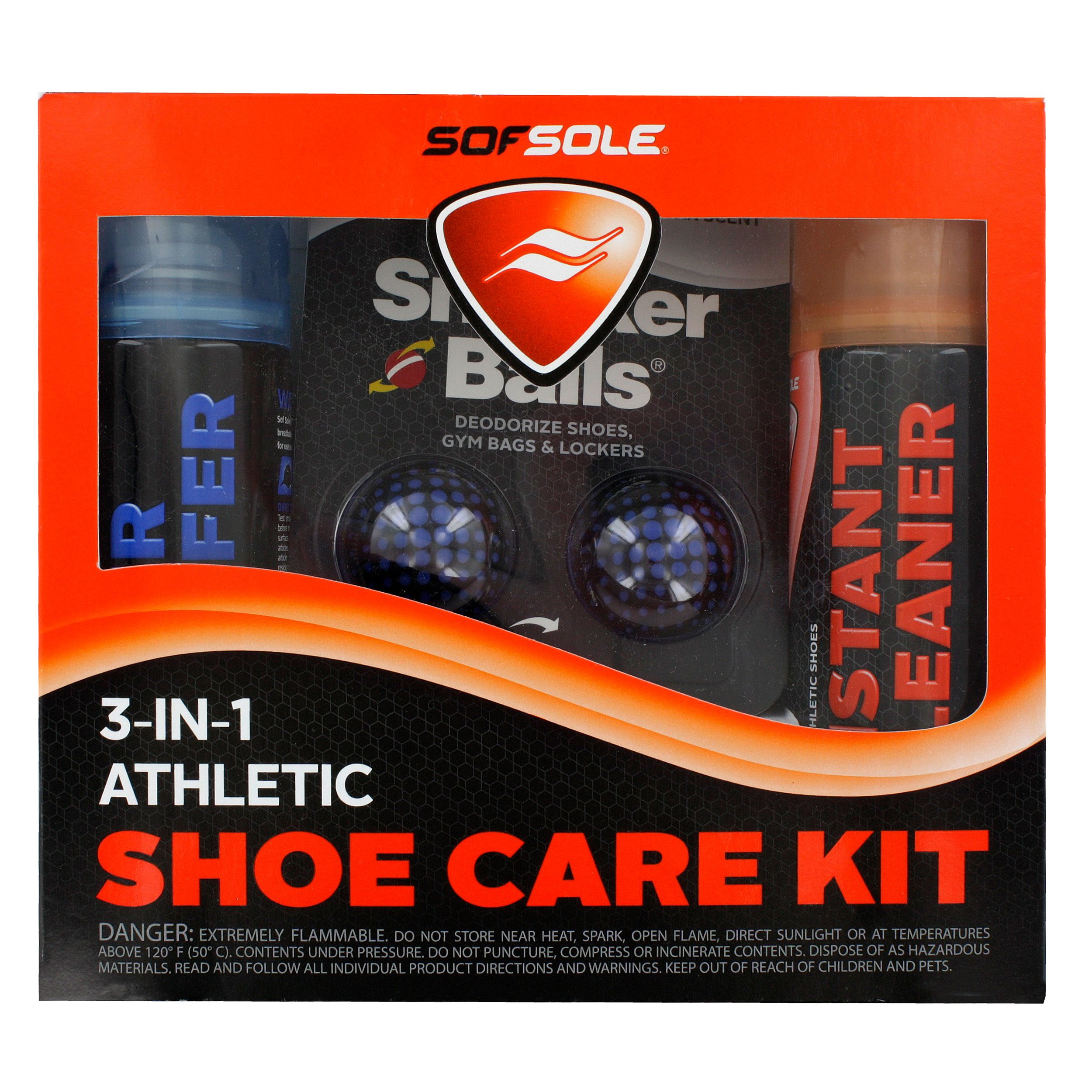 Sof Sole 3-IN-1 Athletic Shoe Care Kit with Waterproof Spray, Cleaner, and Deodorizing Sneaker Balls