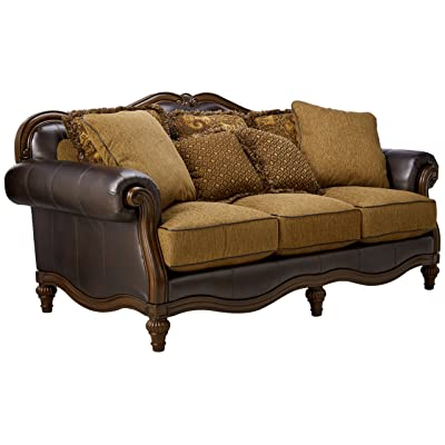Ashley Furniture Signature Design   Claremore Sofa With 7 Accent Pillows    Traditional Style With Ornate