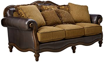 Ashley Furniture Signature Design   Claremore Sofa With 7 Accent Pillows    Traditional Style With Ornate Part 76