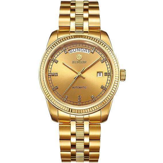 binlun Hombres 18 K oro vestido de relojes suizos de lujo del movimiento automático reloj con fecha día luminoso manos: Amazon.es: Relojes