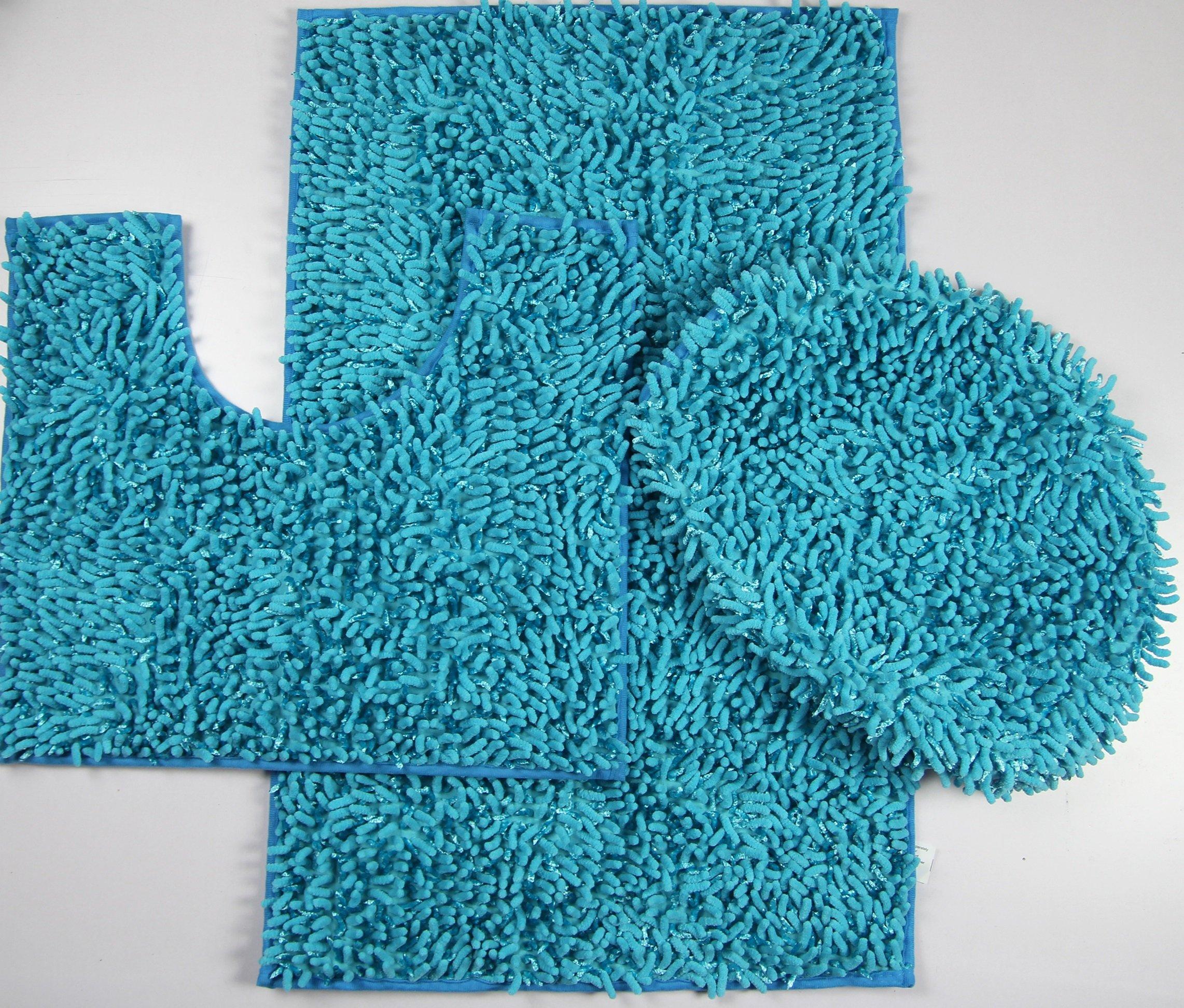 3 Piece Ultra Soft Microfiber Mixed Shiny Chenille Bath Mats Set Large Mat 19.5''x''31 Contour Mat 19.5''x''17.5 Lid 20''x''188 (Turquoise)