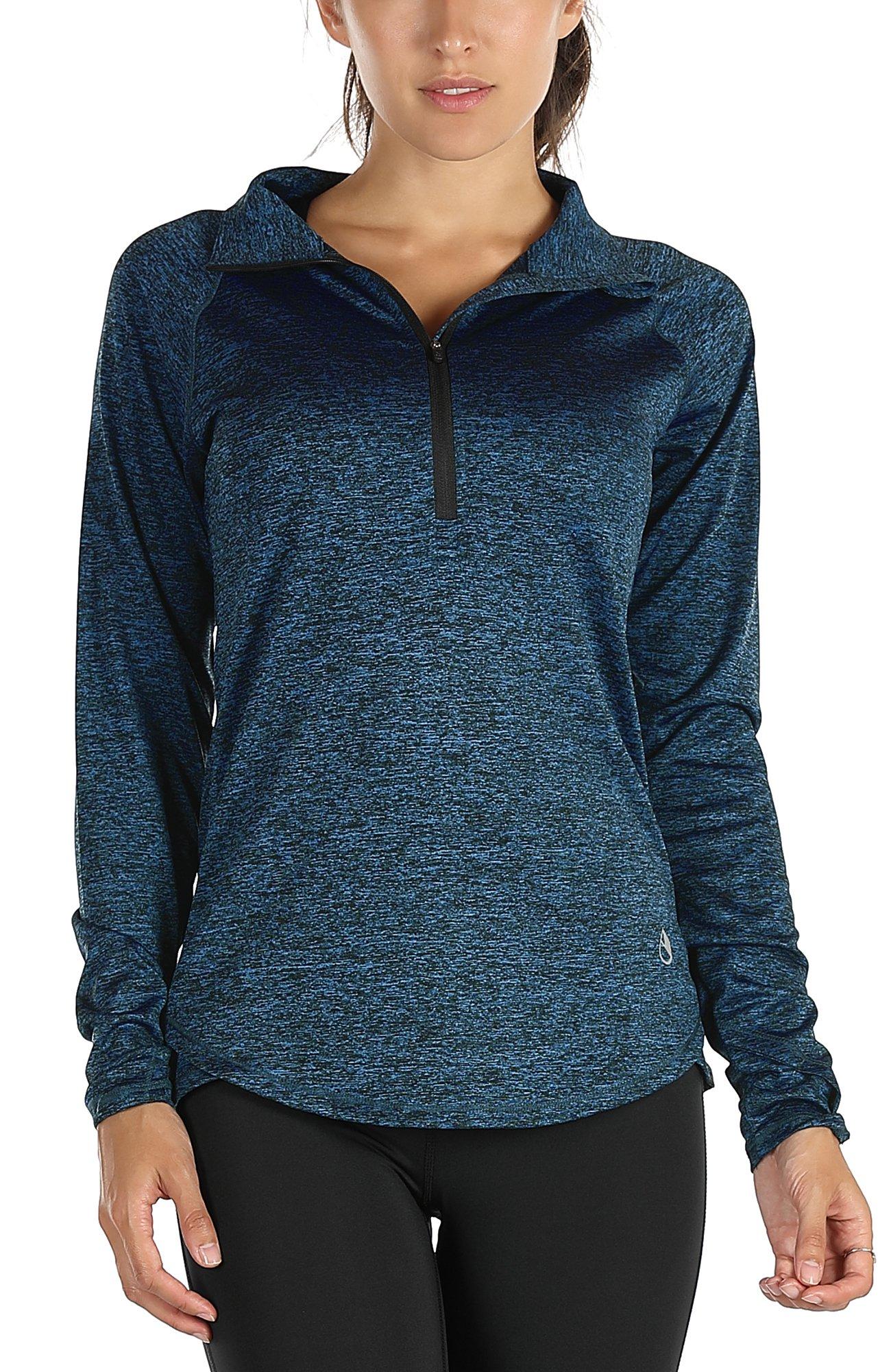 icyzone Women's Workout Yoga Track Jacket 1/2 Zip Long Sleeve Running Shirt(S,Royal Blue)