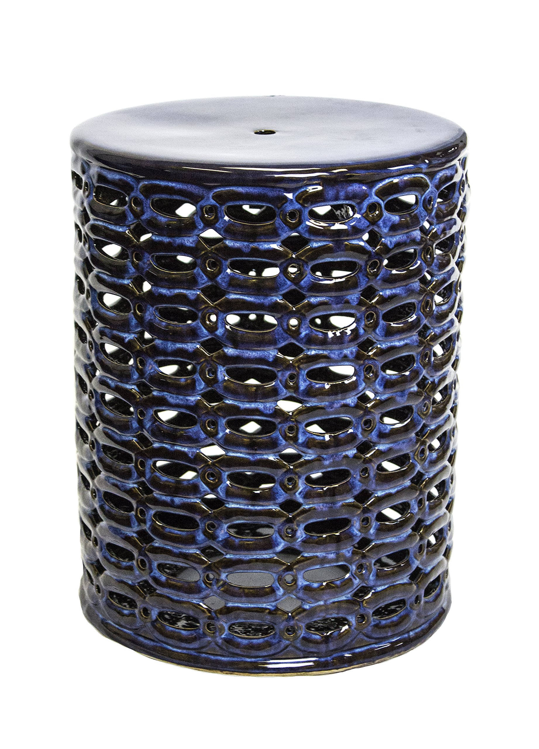Sagebrook Home FC10447-01 Pierced Garden Stool Reactive Blue Ceramic, 13.5 x 13.5 x 17.5 Inches