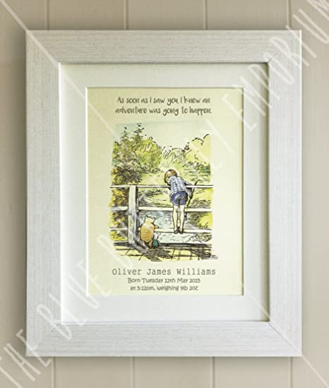 Personalised Winnie The Pooh Framed Quote Print New Babybirth