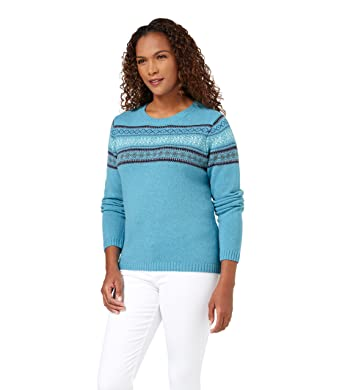 WoolOvers Womens Lambswool Fairisle Jumper Soft Turquoise, S ...