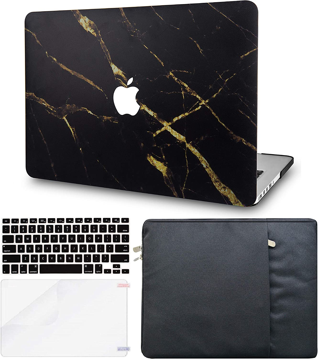 LuvCase 4 in 1 Laptop Case for MacBook Air 13 Inch (Touch ID) (2018-2020) A1932 Retina Display Hard Shell Cover, Sleeve, Keyboard Cover & Screen Protector (Black Gold Marble)