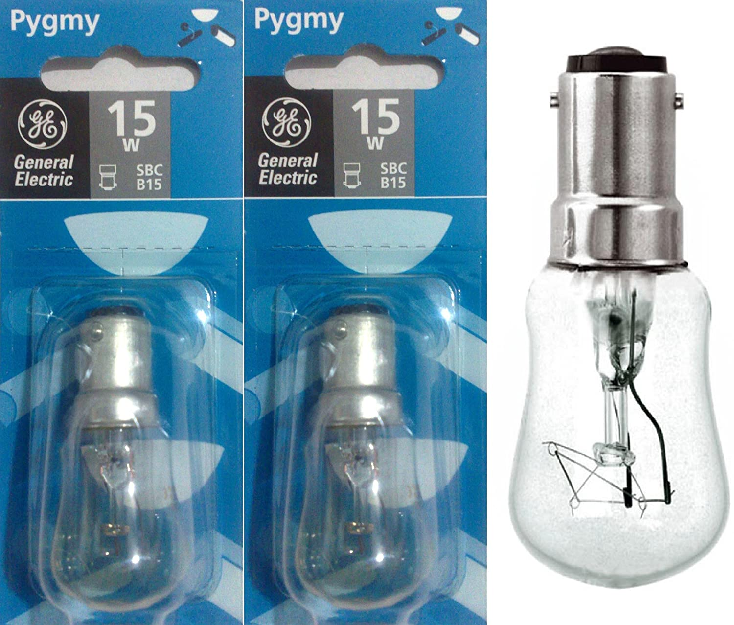 GE Brand 15w 240v SBC//B15 Clear Pygmy Sign lamps