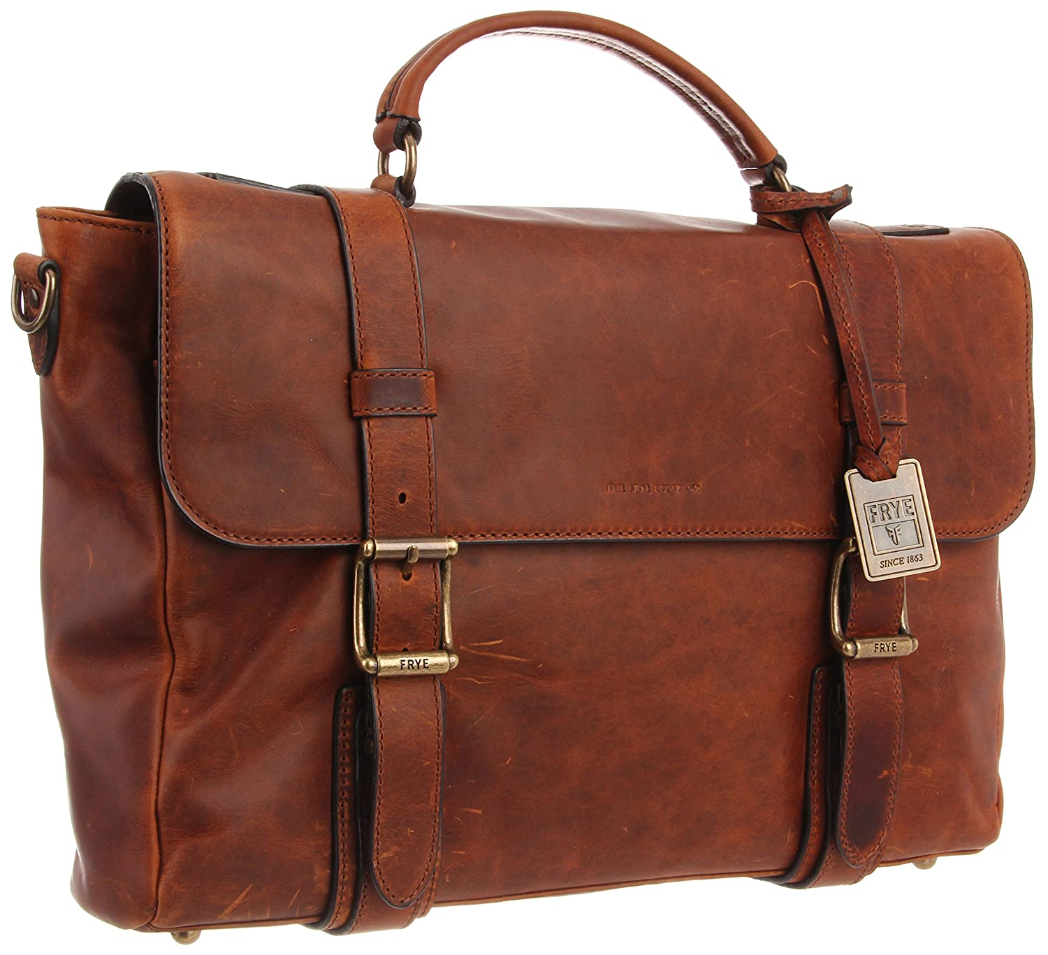 Frye Logan Flap Briefcase,Cognac,One Size: Amazon.in: Bags, Wallets &  Luggage