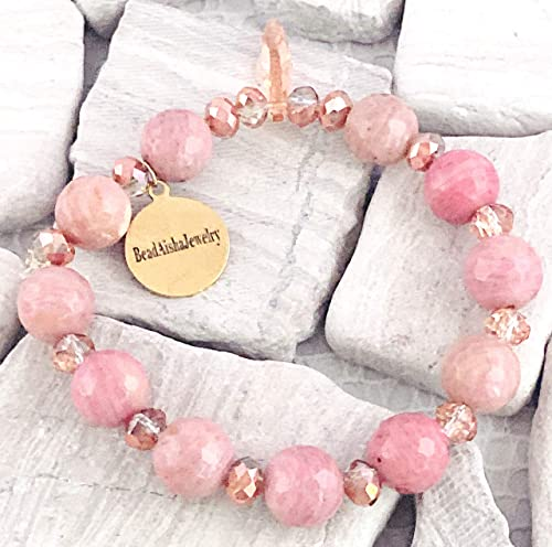 chunky pink jasper and hematite beaded necklace