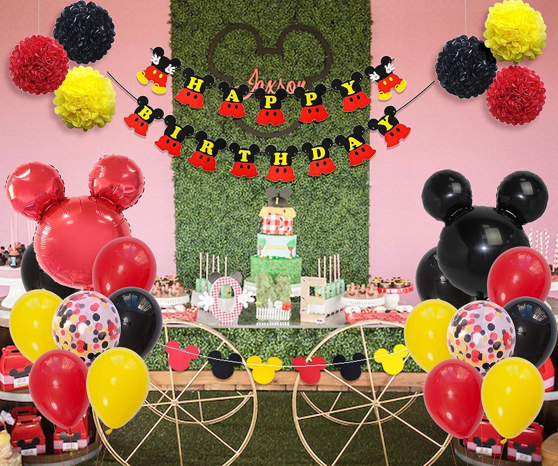 Fangleland Topolino e Minnie Decorazioni per Feste Topolino Compleanno con Set di Palloncini Rossi Neri Gialli Ghirlanda Buon Compleanno Banner per Ragazzi Ragazze Compleanno Baby Shower