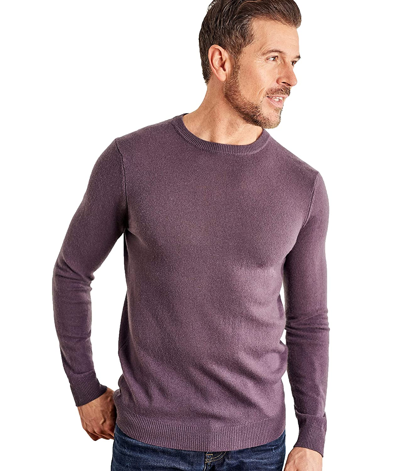 Woolovers Mens Cashmere and Merino Crew Neck Knitted Jumper Violet Mocha, XL