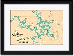 "Northwest Art Mall Lake of The Ozarks Missouri Map Framed & Matted Art Print by Lakebound Print Size: 12"" x 18"" Framed Art Size: 18"" x 24"""