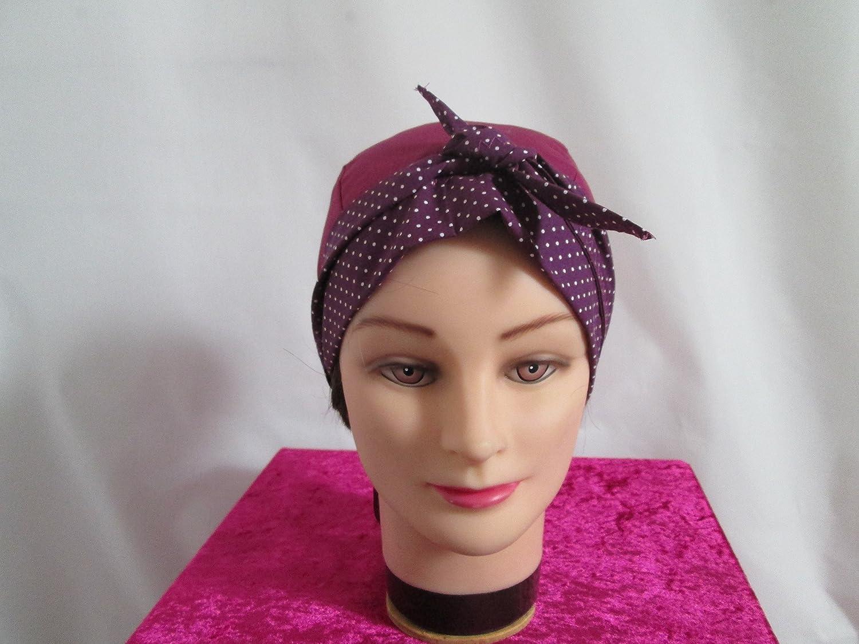 Foulard, turban chimio, bandeau pirate au féminin prune et prune à petits à petits pois blancs