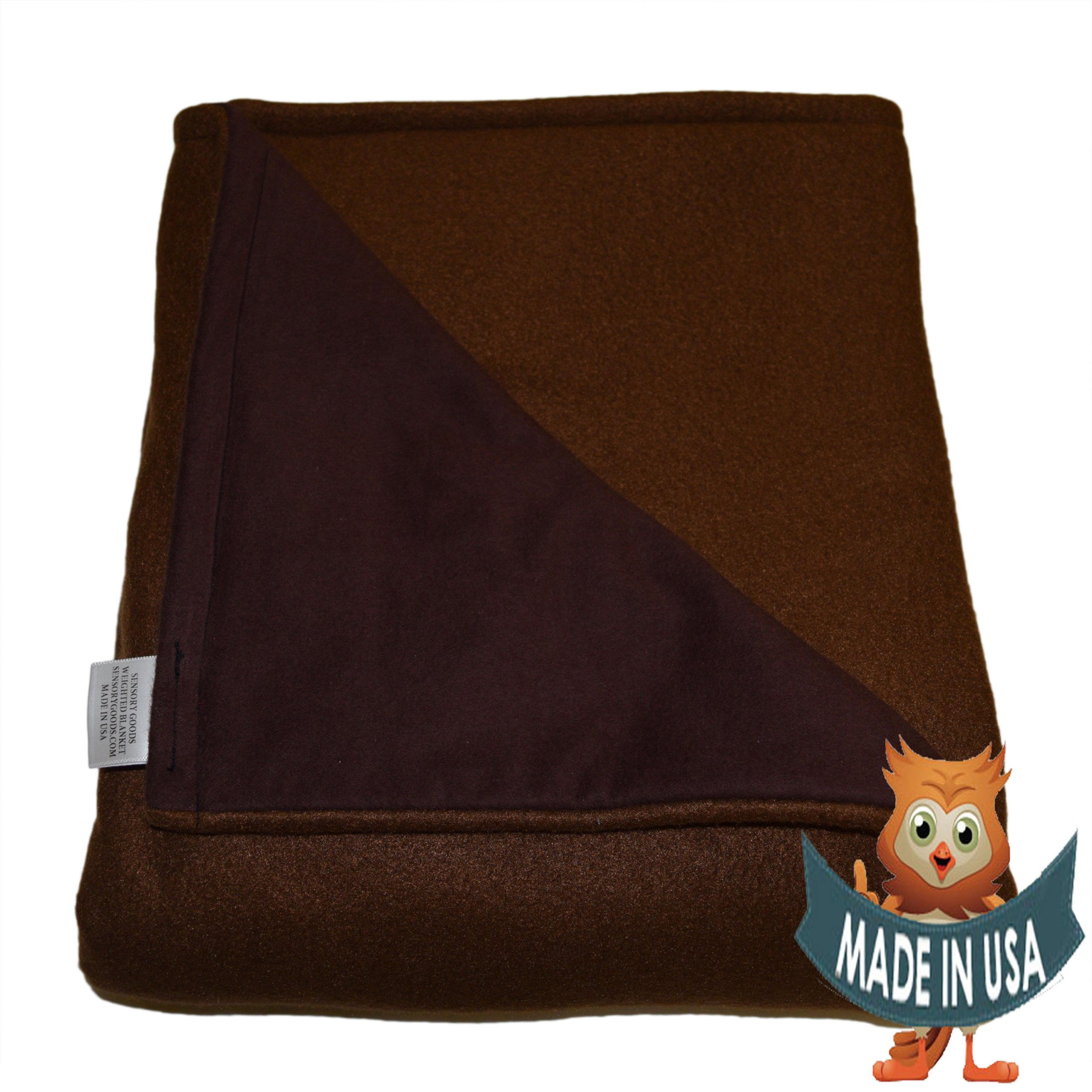 Adult Extra Large Weighted Blanket by Sensory Goods 25lb Extra Heavy Pressure - Brown - Fleece/Flannel (58'' x 80'')