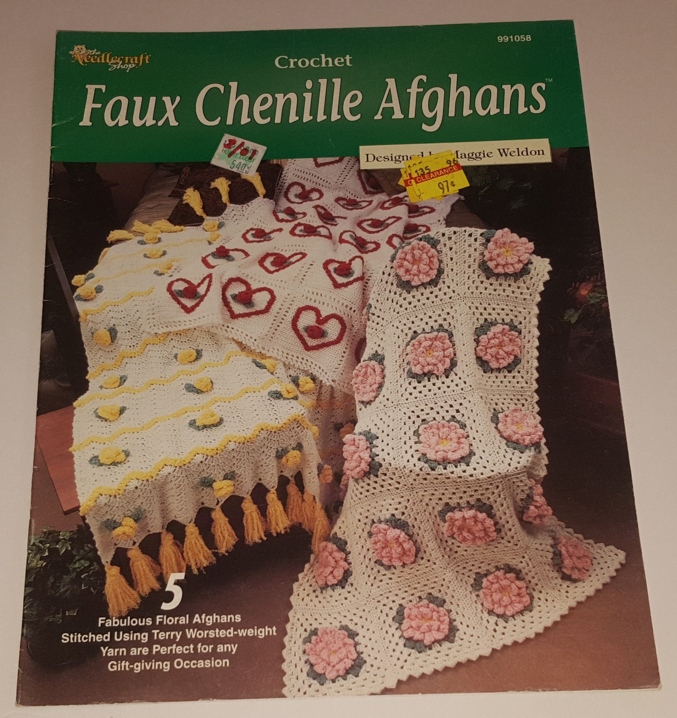 Faux Chenille Aghans Crochet Pattern Book For 5 Floral Afghans