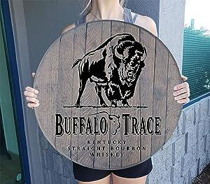 Buffalo Trace Kentucky Bourbon Whiskey Barrel Lid Gifts Wood Wall Art Rustic Home Bar Decor Sign