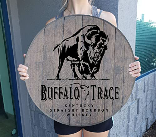 Buffalo Trace Kentucky Bourbon Whiskey Barrel Lid Gifts Wood Wall Art Rustic Home Bar Decor Sign