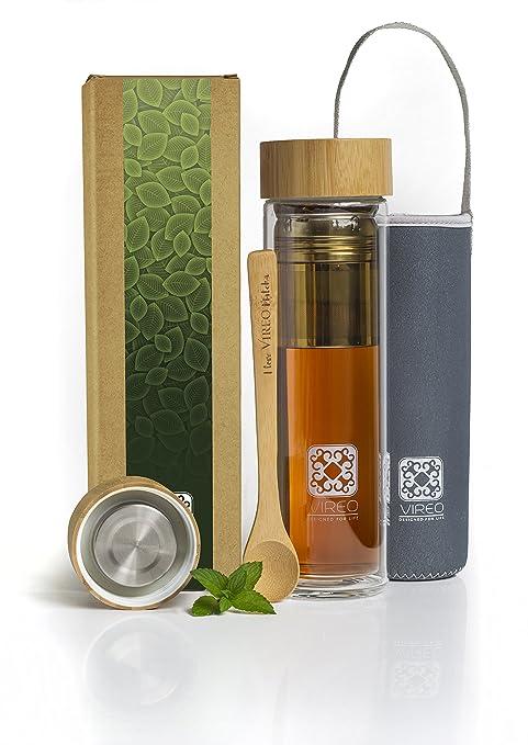 Botella de vidrio para infusión de té, café y aguas frutales – Taza viajera con pared doble térmica de borosilicato de 450 ml | Tapa libre de plástico ...