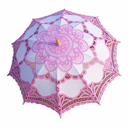 Amazon.com: Battenburg Pink and White Lace Parasol Umbrella