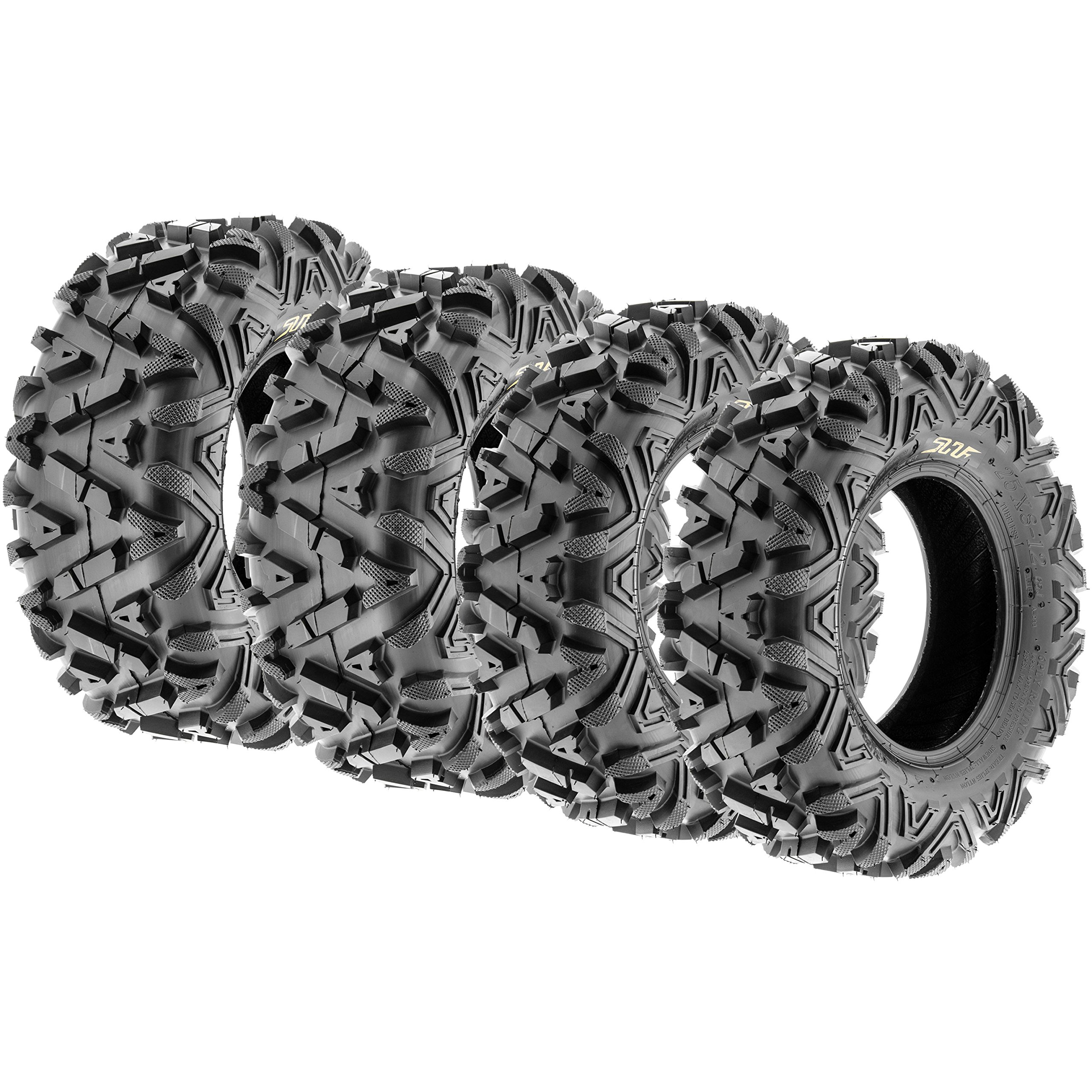 SunF Power.I 25 inch ATV UTV all-terrain Tires 25x8-12 & 25x11-12, 6 PR Front & Rear Set of 4 A033, Tubeless by SUNF (Image #1)