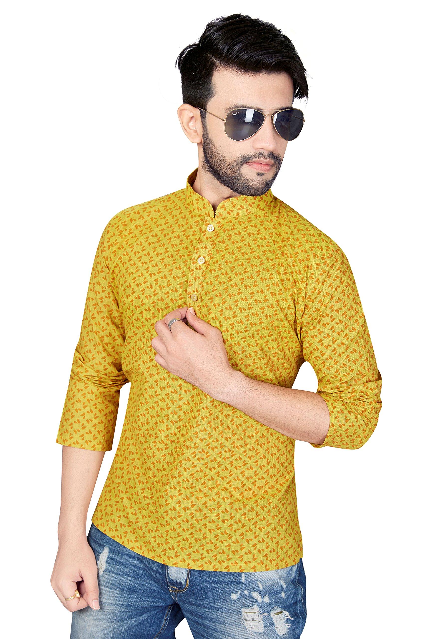 TrendyFashionMall Short Cotton Kurta For Men Yellow2 Med-40