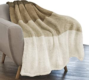PAVILIA Sherpa Ombre Throw Blanket for Couch | Fuzzy Plush Cozy Microfiber Fleece Couch Blanket | Gradient Decorative Accent Throw | 50x60 Inches Taupe