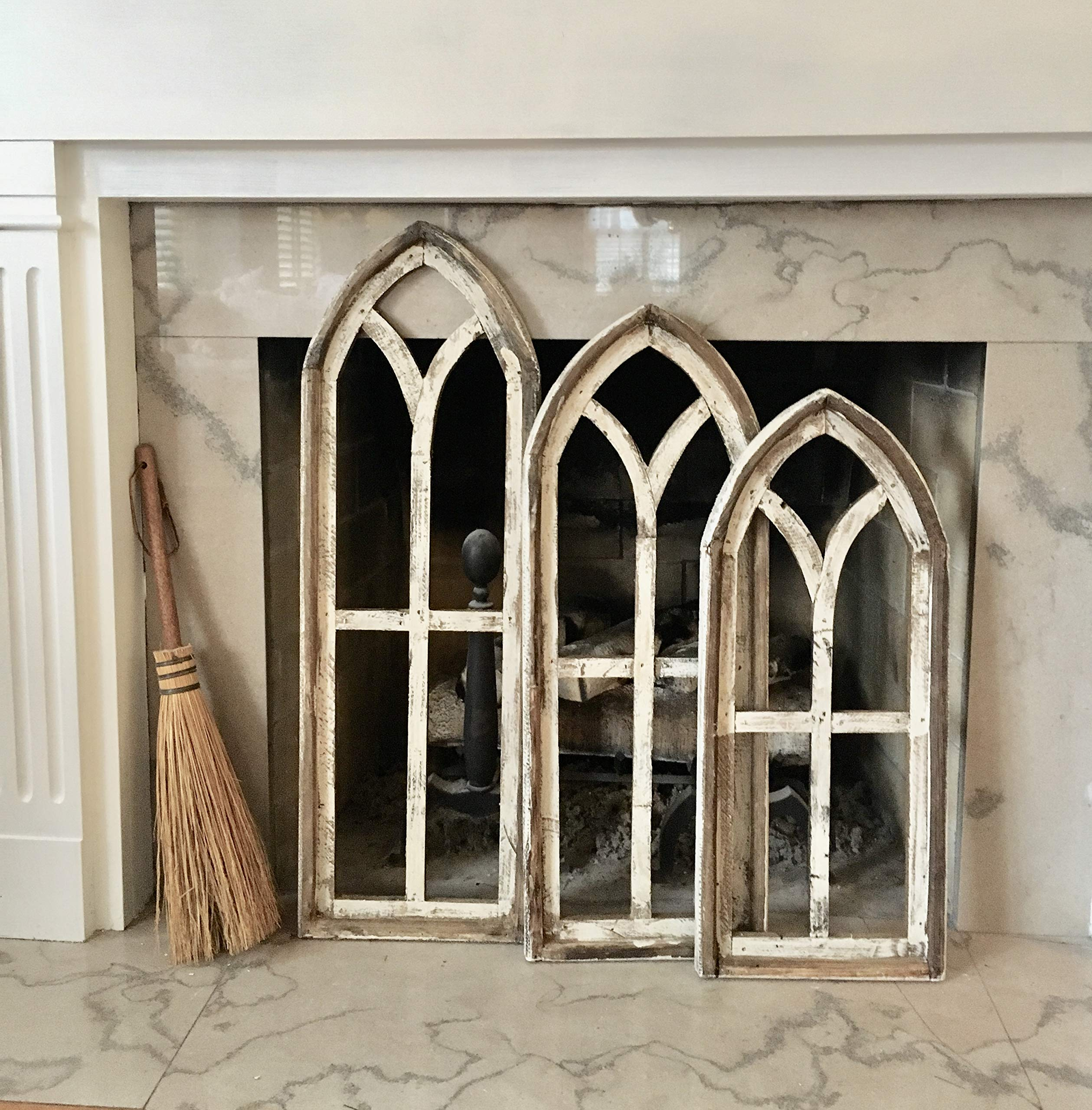 Farmhouse Wood wall window, Arch Window Frame, Farmhouse Cottage Decor, Cathedral Window Frame, Distressed Chippy Paint, Wall Decor, Farmhouse Wall, Window Frame