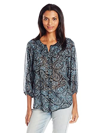 0301a98898b055 Lucky Brand Women's Black Paisley Peasant Top at Amazon Women's Clothing  store: