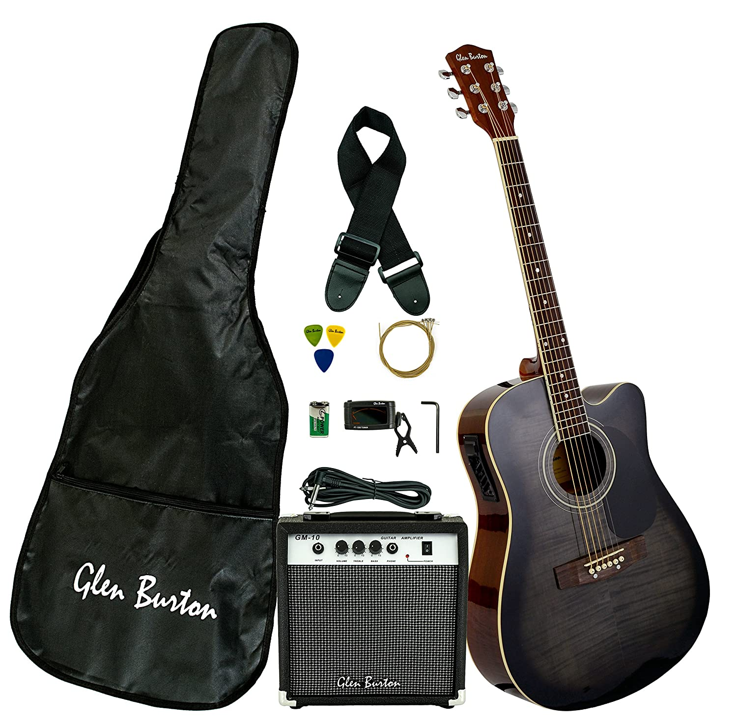 acoustic electric cutaway guitar black amp strap pick cord new ebay. Black Bedroom Furniture Sets. Home Design Ideas