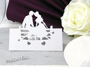 10x Tischkarten Hochzeit Einssein Brautpaar Weiß Hochzeit
