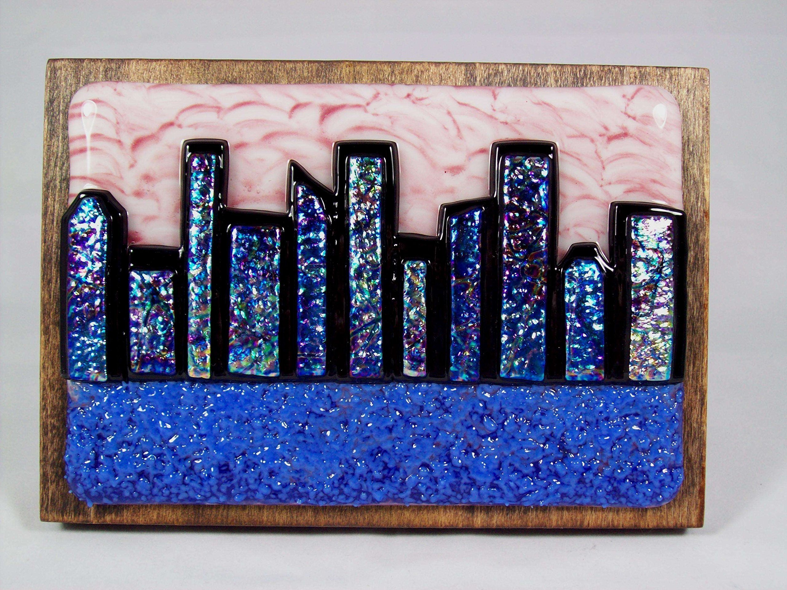 ''Abstract City Skyline 2'' Handmade Fused Glass Wall Art (WS68), Wall Décor, Dichroic Glass, Fused Glass Artwork, Wall Hanging, Glass Panel, Glass Sculpture