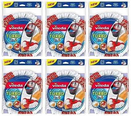 Juego de 6 Vileda Turbo 2 in1 Easy Wring & Clean; 6 cabezales de