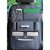 Lucky Sign - Rugleuning Beschermer Auto Organisator vilt camper accessoiretas met Veel zak, 62 x 41cm - Donkergrijs