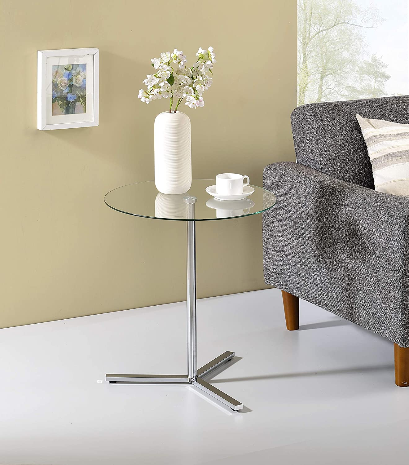 Kings Brand Furniture - Cinerie Modern Accent Side End Table, Chrome Metal/Glass