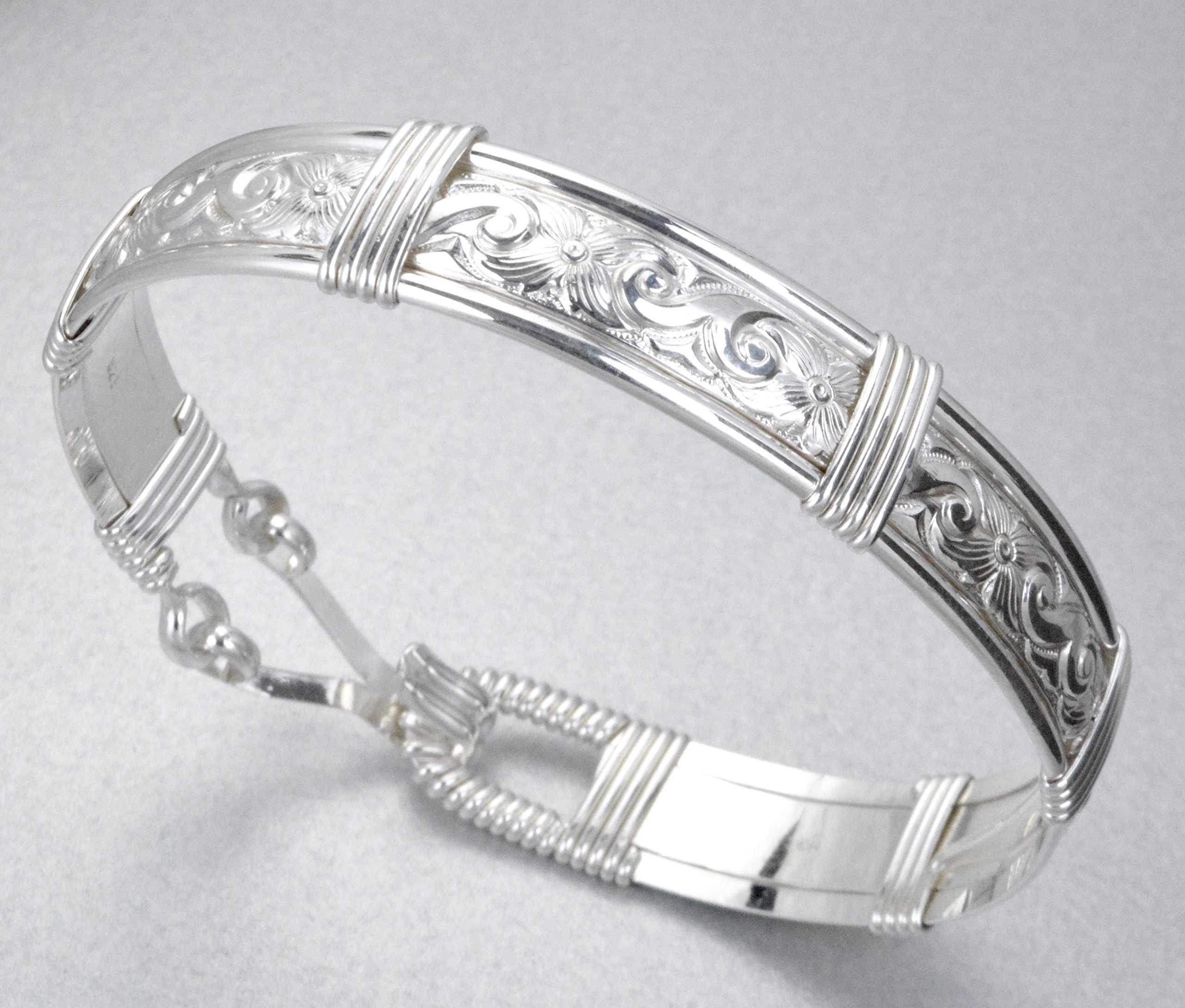 Custom Made For YOU! Made In Alaska 925 Sterling Silver Waves & Flowers Patterned Wire Wrapped Bracelet