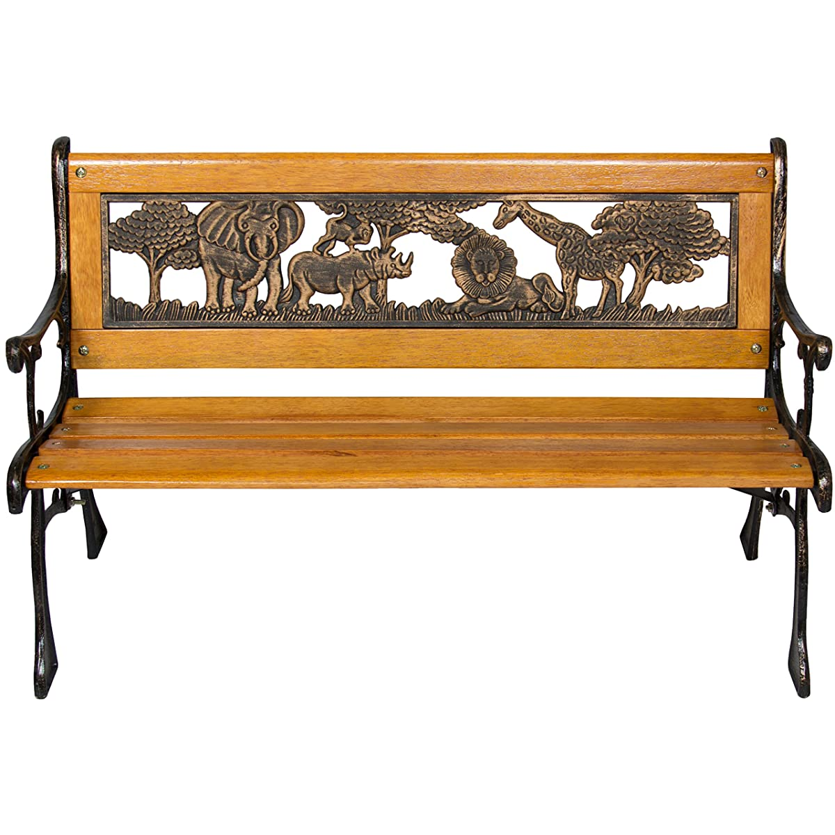 Best Choice Products Outdoor Safari Animals Kids Aluminum & Wood Park Bench Home & Garden