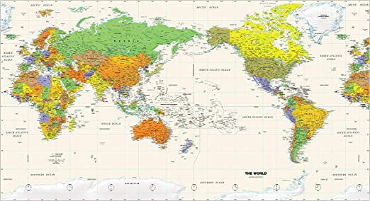 World Map Pacific Centered Amazon.: Pacific Centered World Wall Map   61