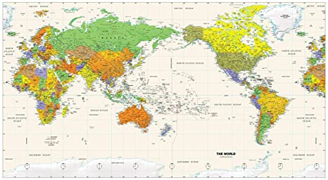Pacific Centered World Map Amazon.: Pacific Centered World Wall Map   61