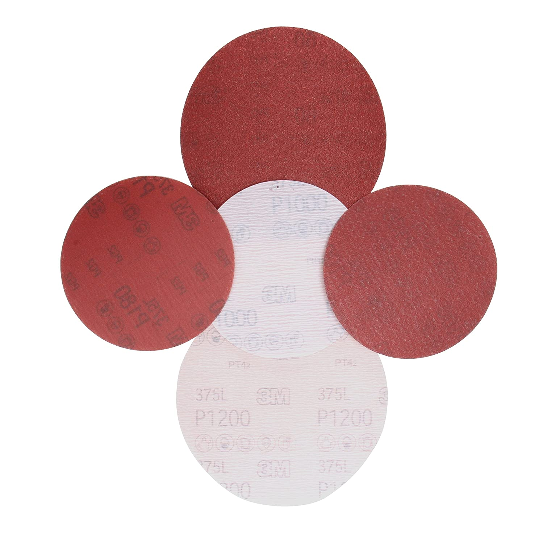 Pack of 50 5 Diameter 5 Diameter 55665 Aluminum Oxide P400 Grade 3M Hookit Film Disc 375L