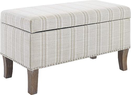 Linon Linen Stripe Upholstered Storage Stephanie Ottoman