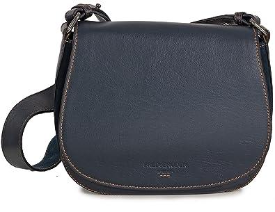 4a9a3f34e389f Fredsbruder Umhängetasche Schlaraffe Leder Satchel kleine Damen Tasche  Handtasche (Blau Navy)