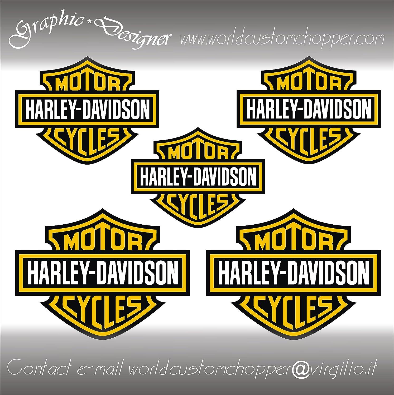 5 ADESIVI DECAL STICKERS BAR AND SHIELD HARLEY DAVIDSON CASCO MOTO CUSTOM BANDIT ORO