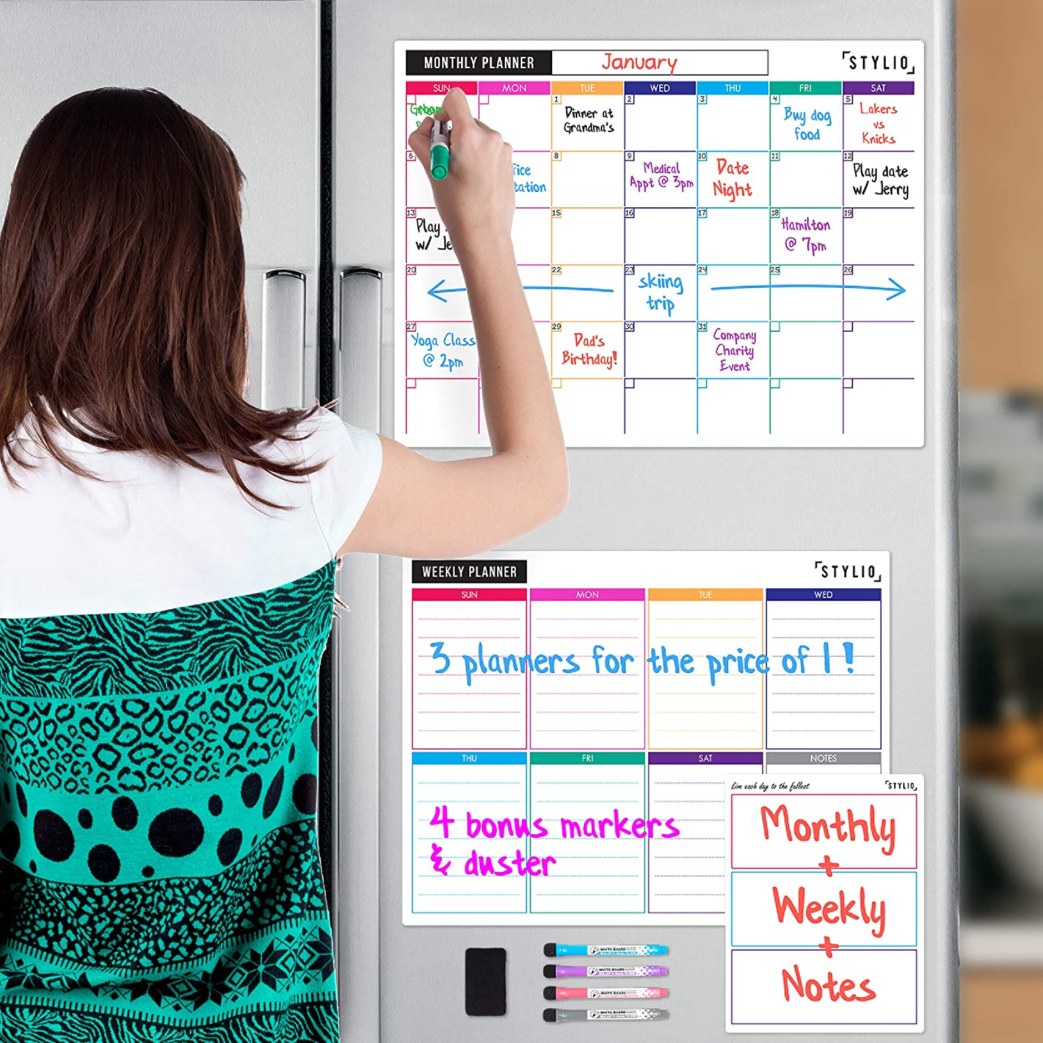 STYLIO Dry Erase Calendar Whiteboard. Set of 3 Magnetic Calendars for Refrigerator: Monthly, Weekly Organizer & Daily Notepad. Wall & Fridge Family Calendar. 4 Fine Point Markers & Eraser Included