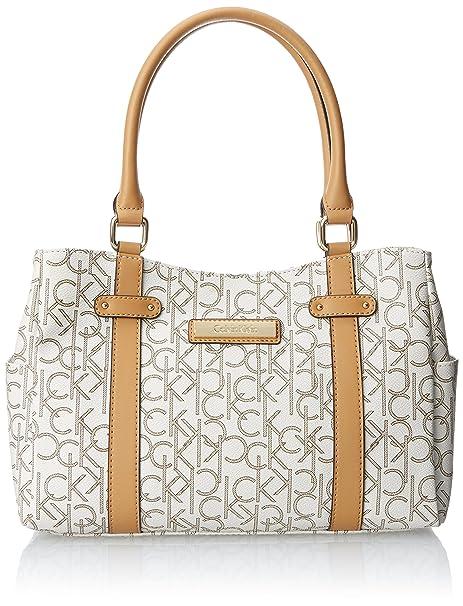 Amazon.com  Calvin Klein Monogram Satchel, Almond Khaki Camel, One Size   Shoes 6948538a03