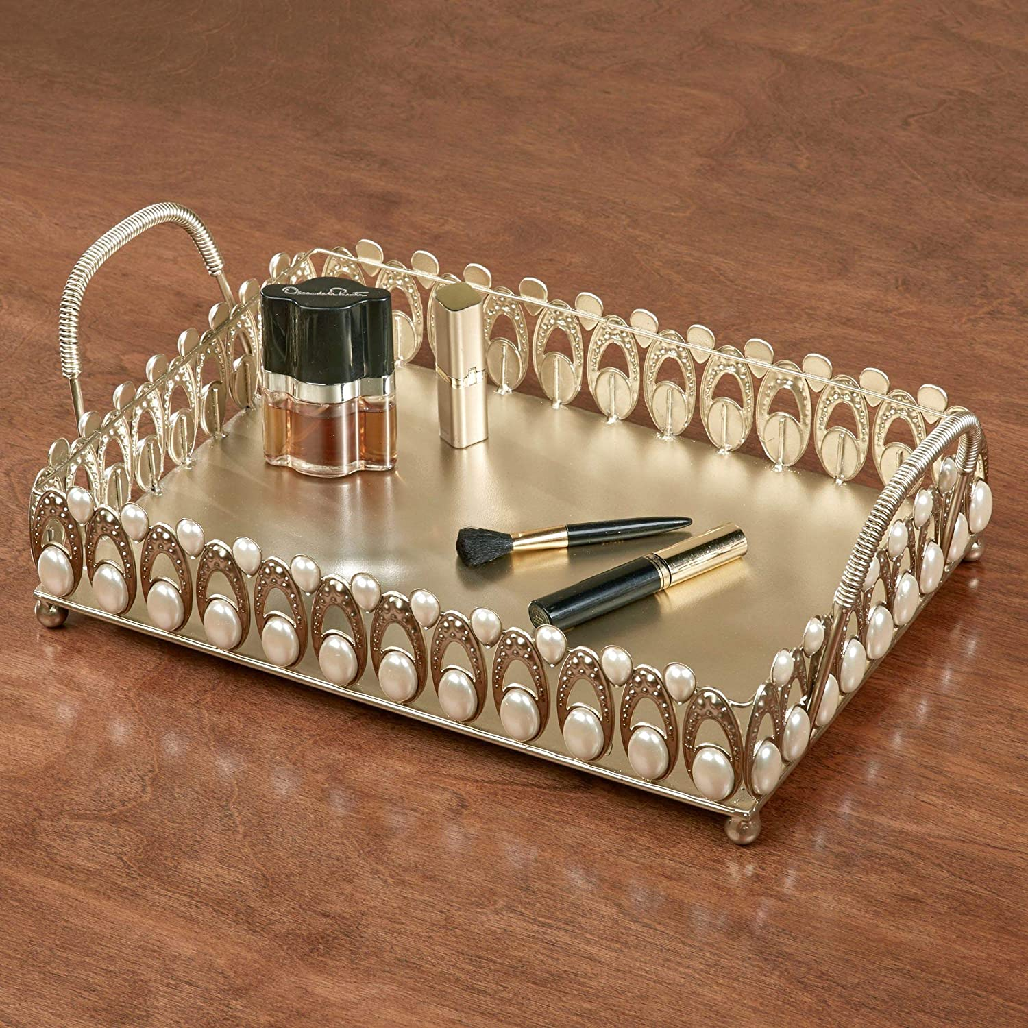 Touch of Class Julietta Vanity Table Tray with Handles Champagne Gold and Pearl 16 Wx10 Dx5.5 H